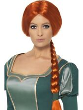 Princess Fiona Wig With Fringe Fancy Dress Costume Accessory Shrek Auburn Plait