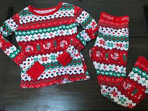 CAT & JACK Size 6 Christmas Pjs 2-Piece Pajama Set Fox Boy Girl Holiday Red EUC