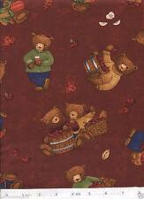 Apple Cider Bears on Burnt Red Backgrnd Quilt Fabric - 1 Yard