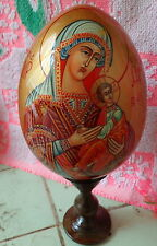 MOTHER OF GOD  wood icon -egg handpainted LARGE #4