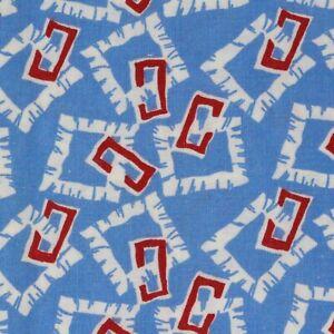 Quarter Vintage Flour Feed Sack Fabric 36 x 10 Blue Geometric Print