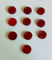 """Set of 10 Pearly Red Buttons 3/8"""" 4-Hole Flat Rim Vintage"""