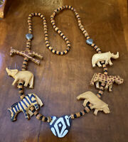 "Wood Carved Animal Bead Beaded Vintage Safari Tribal African Style 31"" Necklace"