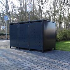 3 Mülltonnenboxen Modell No.4 Anthrazit komplett RAL7016 für 120Liter Mülltonnen