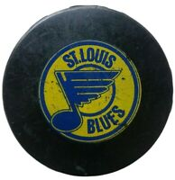 ST. LOUIS BLUES NHL OFFICIAL GAME PUCK VINTAGE HOCKEY 1980s RARE 🇨🇦 blank back