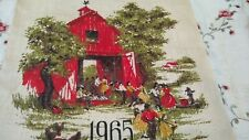 Vtg Calendar Fabric Square Dance 1965 Linen Dish Towel 15x26