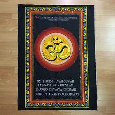 OM AUM Hindu Buddhist Sequin Batik Wall Hanging Cotton Batik Tapestry LARGE