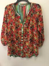 Figueroa & Flower BoHO Floral Stripe Print Blouse Shirt SZ Medium