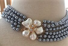 KENNETH JAY LANE Grey Glass Pearls Necklace w/ Flower Clasp KJL GIVEAWAY SALE!!