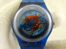 Swatch Unisex Mens Womens Indigo Lacquered Suon 101 Gear Blue Swiss Watch