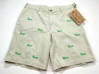 Vintage 1946 Men's Cotton Khaki Shorts Embroidered NEW NWT