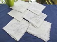 Lot 6 Vintage White Cotton Wedding Handkerchiefs Extensive Madeira Embroidery