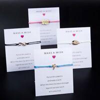 Make A Wish Braided Bracelet Friendship Family Card Heart Bangle Women New Gift