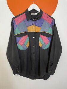 Men's Vintage Western Style Denim Patchwork Casual Shirt Black UK Size M Medium