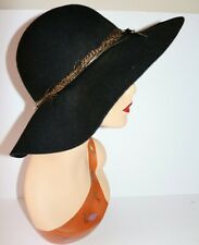 MORGAN & TAYLOR Brand Black Wool Felt Wide Brim Hat LIKE NEW