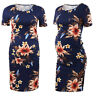 Women Pregnancy Pregnant Floral Midi Dress Short Sleeve Maternity Casual Party