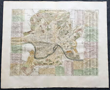 1719 Henri Chatelain Large Antique Map, a Plan of Rome, Italy