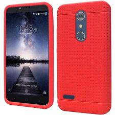 ZTE ZMAX PRO CARRY Z981 BLADE X MAX RED SOFT SILICONE GEL RUBBER CASE COVER