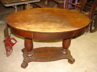 Antique Oak BRANDT Oval Library Table - Hall - Lamp Table - Double Petestal