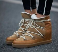 """Isabel Marant⚡️""""Nowles"""" tan suede shearling fur lined wedge boots size 37/7US"""
