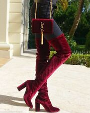 Zara Velvet Over The Knee High Heel Boots, Size 38