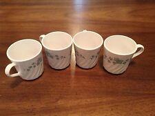 Corning Ware Callaway Coffee Cup/Mugs, Set of 4, White Swirl W/Green Ivy
