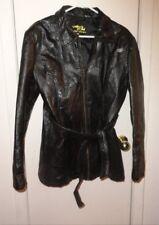 XL Ladies Womens Leather & Soul Jacket Coat Black Patchwork Leather Belt Lined