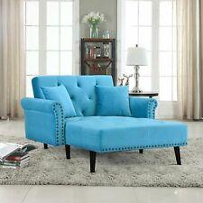 Modern Velvet Recliner Sleeper Chaise Lounge Chair. (Blue)