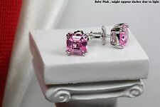 Ladies Baby Pink Step Cut Asscher 925 Silver Nickel Free Screw Back Earrings