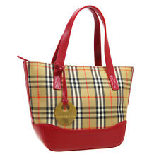 BURBERRY Horse Check Pattern Hand Bag Purse Beige Red Canvas Leather AK46391