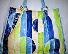 Women Bag Italian Tosca Blu Blue Green Ivory Snakeskin Pattern Leather Tote