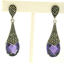NEW Sterling Silver Faceted Oval Amethyst Solitaire Marcasite Dangle Earrings
