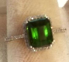 2.10CT   NATURAL GREEN TOURMALINE AND DIAMOND RING 14K SOLID WHITE  GOLD