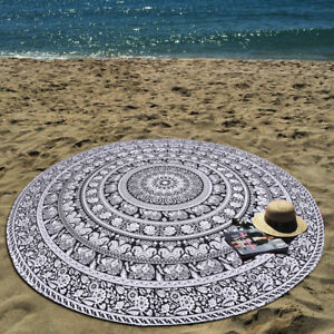 Indian Beach Throw Picnic Towel 100% Cotton Roundie Mandala Ethnic Table Cover