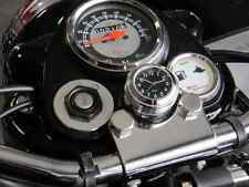 British Made Grooved Royal Enfield® Billet Stem Nut Cover with Black Clock