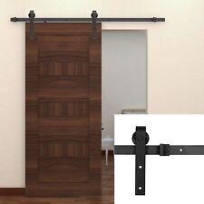 8 FT Carbon Steel Sliding Barn Door Hardware Kit Interior Rustic Track Black BT