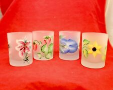 Frosted Art Glass 4 Hand Painted Enameled Flowers Tumblers Cocktail Glasses