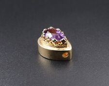 Mc Mastercraft Solid 14k Yellow Gold Amethyst Slide Charm CHS807