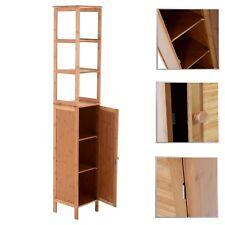 Badezimmerschrank Badmöbel Badkomode Badschrank Hochschrank mit 3 Regalen Bambus