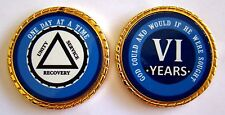 """Alcoholics Anonymous 6 Year Rope Edge Sobriety Coin Chip 1 3/4"""" - Blue/Blue"""