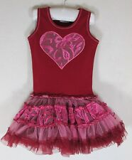 NWT 4T OOH LA LA COUTURE Red Embroidered Tulle Heart Valentine's Poufier DRESS