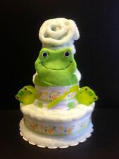 "12"" Cute Frogie Unisex Diaper Cake Unique Elegant Baby Shower Gifts Center Piece"