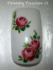 Flower Nail Art Transfer- Pink Green Decal #371 C035 Sticker Wrap