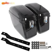 Black Motorcycle Hard Trunk Saddle Bags + Mounting bracket for Honda Yamaha New