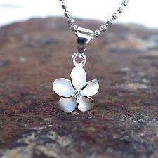 10mm 2 Tone Plumeria Hawaiian Genuine Sterling Silver Pendant Necklace #SP43505