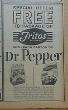 1962 newspaper ad for Dr. Pepper - Free Fritos with each carton of Dr. Pepper