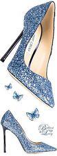 NIB AUTH Jimmy Choo 39.5 9 Romy Glitter Pointy Toe Pump Metallic Navy Blue Heels