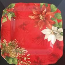 222 Fifth Poinsettia Holly Dinner Plate Set Of 8 New