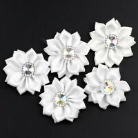 "30 white 1.5"" Crystal Bead Appliques satin ribbon flowers bows Craft DIY Wedding"
