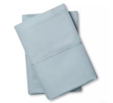 Fieldcrest Supima Hemstitch King Pillowcase Set 700 Thread Count Aqua Spill NEW